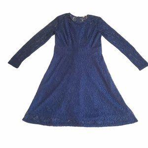 Al'ofa blue floral print 3/4 sleeve dress sz S